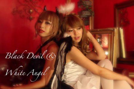 ブラックデビル&ホワイトキューピッド 悪魔と天使のペアコスチューム